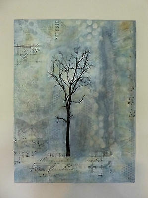 Mixed Media Collage On Canvas Frame Soft Blue Tones