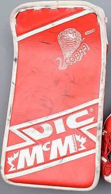 SIGNED Mike Vernon Game Worn/Used Blocker NHL - Detroit Red Wings - Photo Match?