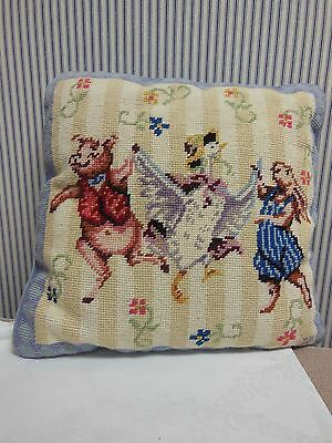 Adorable One Of A Kind Vintage Needlepoint Pillow For Baby'S Room