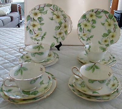 Tuscan Dogwood 4 Cups/saucers,4 Side Plates, 2 Luncheon Plates