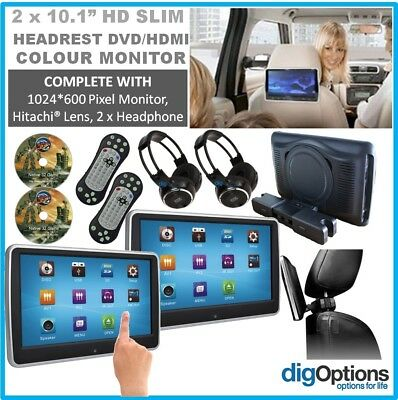 #2 x 10.1In car LCD Monitor Active Headrest DVD Player HDMI Game HD Divx USB SD