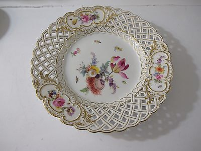ANTIQUE MEISSEN RETICULATED FLORAL HAND PAINTED CHARGER/PLATE, Fully marked