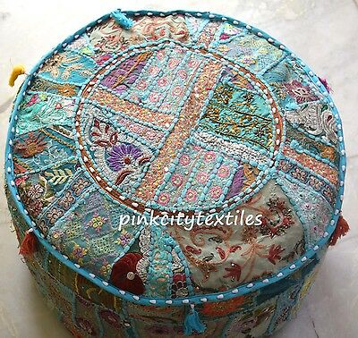 Pretty Indian Pouf in Blue Stool Vintage Patchwork Living Room Ottoman Cover