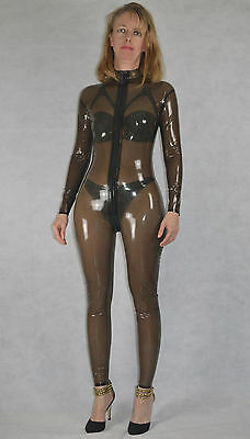 Latex Catsuit, Farbe schwarz transparent, Fetish, Domina, Gummi, Hauteng,