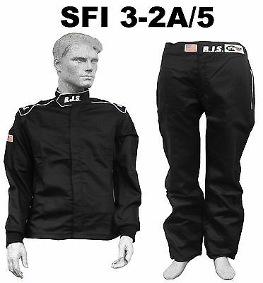 Fire Suit Sfi 3-2A/5 Black 3X Rjs Racing 2 Piece Elite 2 Layer Scca Imsa Arca