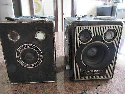 Two Old Brownie Six-20 E & Brownie Six-20 Box Cameras Made By Kodak