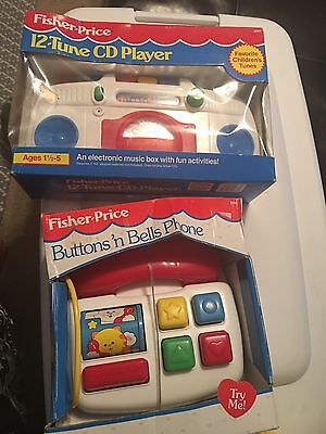 1992 FISHER PRICE 12 Tune CD Player + Buttons N Bells Phone-1991-in Boxes