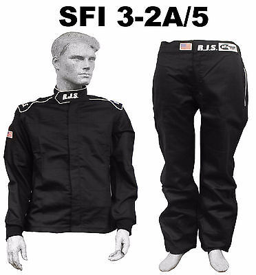 Fire Suit Sfi 3-2A/5 Black Xl Rjs Racing 2 Piece Elite 2 Layer Imsa Scca Arca