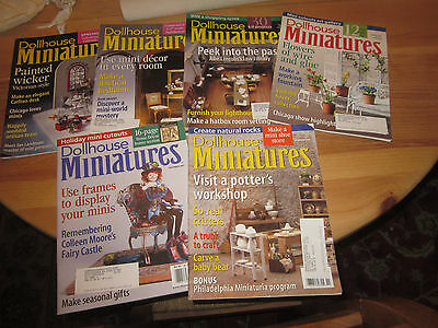 Dollhouse Miniatures Magazine Lot from 2001, Feb, May, July, Aug, Nov, and Dec.