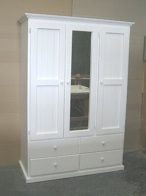 3 door 4 drawer Solid Timber Wardrobe in White