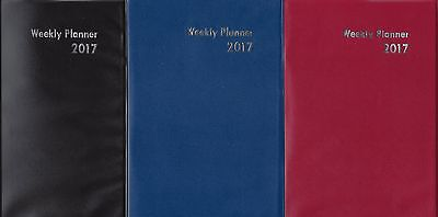 """2017 Weekly Planner Medium Size Approx 5"""" x 7 1/4"""" NEW Black Blue or Red"""