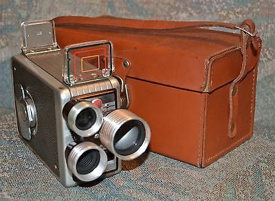 Kodak Brownie-3 Turret 8mm Movie Camera-Top Cond with leather case-Unused!