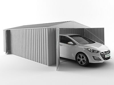 Garden Shed 3(W) x 6(D) x 1.8-2.1mPitch(H) Large Steel Workshop Storage Garage