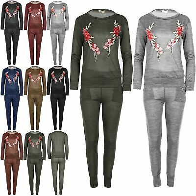 Womens Long Sleeve Fleece Floral Embroidery Ladies Knitted Tracksuit Loungewear