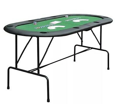 Foldable 8 Player Poker Table Casino Texas Holdem Folding Poker Play Party Cup A