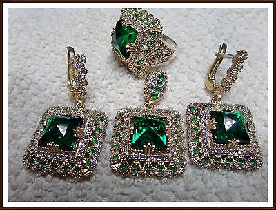 Ladys Turkish Jewelry 925 Sterling Silver Green Emerald Square Set Ring Size 8