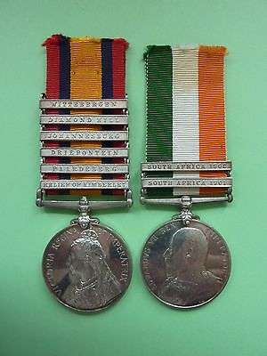 Queens South African Medal 6 Clasps and Kings South African Medal 2 Clasps