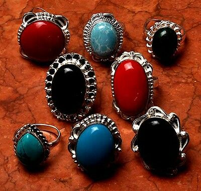 CORAL WHOLESALE LOT 8 PCS MIX SILVER Plated RING JEWELRY M11K