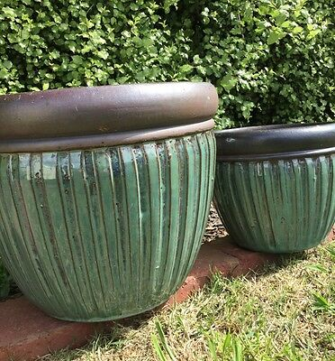 Outdoor Garden Patio Plant Lightweight Pot Planter Mason Green Glaze French Chic