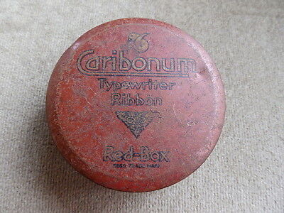 Vintage Red-Box Caribonum Typewriter Ribbon tin