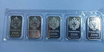 5× 1oz  Scottsdale Mint Silver Bar 999.0 Fine Silver