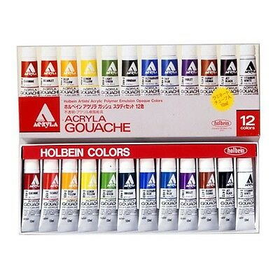 Holbein Artists'  Gouache Opaque Water Colors 12 Colors Set Brand-New Japan