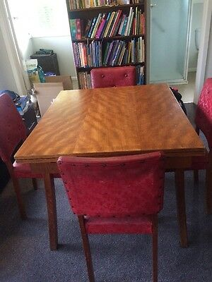 Extendable Kitchen Dining Timber Table And 4 Vintage Chairs