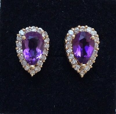 Kostbar Brilliant Ohrstecker Ohrringe 14ct. Gelb Gold Amethyst + 36 Brillianten
