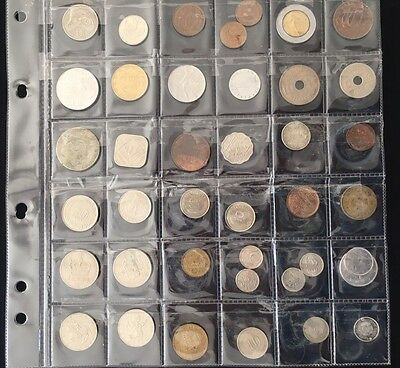 Sheet Of 40 Coins From Around The World