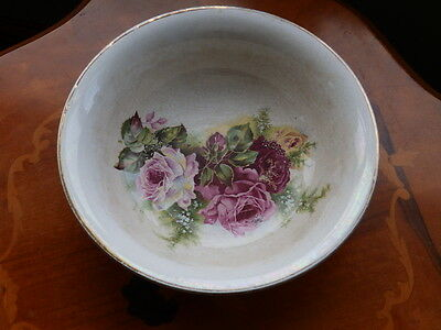 Victorian bowl (without ewer) decorated with roses and lustreware outer