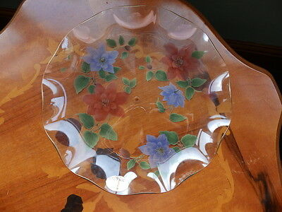 Vintage Chance glass (Pilkington) Clemantis cake plate for stand