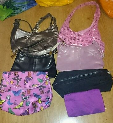 Job lot of womens handbags & small bags x 8 various styles colours & sizes