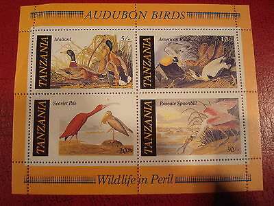 Tanzania - Audobon Birds - Minisheet - Unmounted Mint - Ex Condition