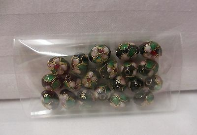 20 black oval cloisonné beads with white green & pink floral trim 10mm x 7mm