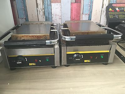 Panini Machine Ribbed Contact Grill Single