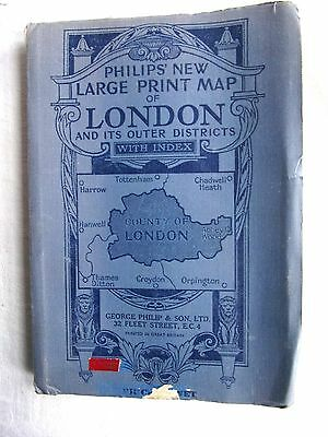 'Philips New Large Print, Map of London' Vintage Cloth map with index.
