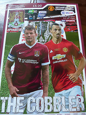 Northampton Town Manchester United Official 2016 League Cup 2Cd Round Programme