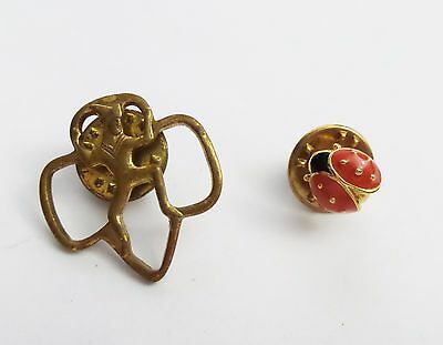 vtg Girl Scout BROWNIE member Lapel pin and Lady Bug hat