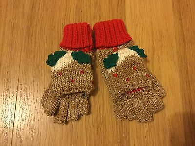 BNWT TU Kids Fingerless Christmas Pudding Gloves - 3-6 years