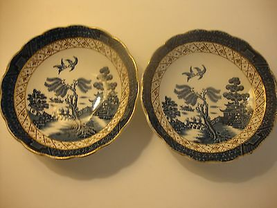 """Booths Real Old Willow Pair Of Small Bowls Very Good Condition 5"""" Diameter"""