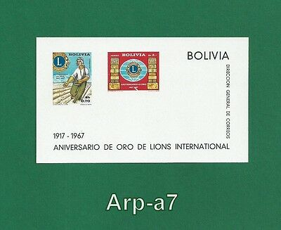 (BL85) Bolivia sheet MNH ** 1967 The 50th Anniversary of the Lions International