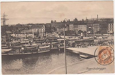 Carte postale ancienne - CHRISTIANIA Piperviksbryggen - Oslo Norvège