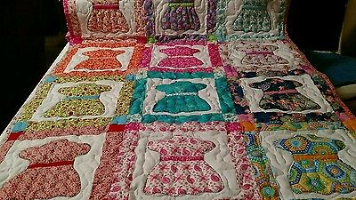 Handcrafted Handmade Applique Baby Dress Crib Throw lap Baby Quilt Multi Colors