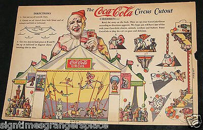 COCA COLA Sign 1930's CIRCUS Clown CHILDRENS CUT OUT AUTHENTIC LITHO GIVE-A-WAY