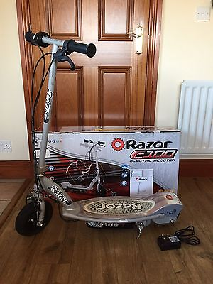 Razor E100 Electric Scooter Silver With Original Box Charger And Manual