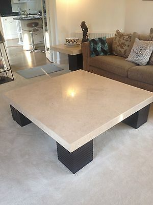 Marble Coffee Table (Large) with Mahogany Legs