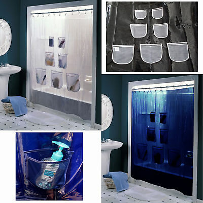 Peva Storage Organizer Pockets Waterproof  PVC Shower Curtain - 180cm x 180cm