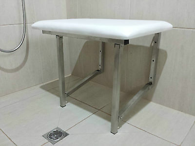 Shower Chair Seat Fold Down Disabled Aid Stainless Steel Padded Seat Compact