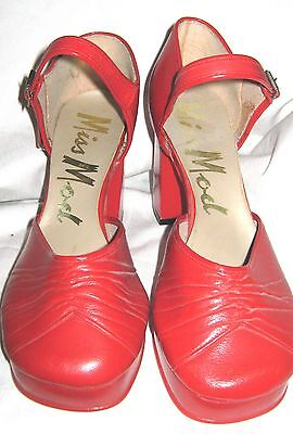 60's Vintage Ankle Strap Shoes By Miss Mod Red Size 6 New