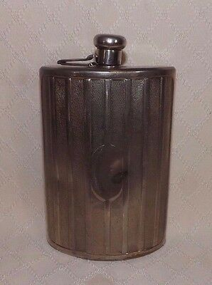 Vintage Grill Style  Chrome 10 oz Flask - Made in West Germany